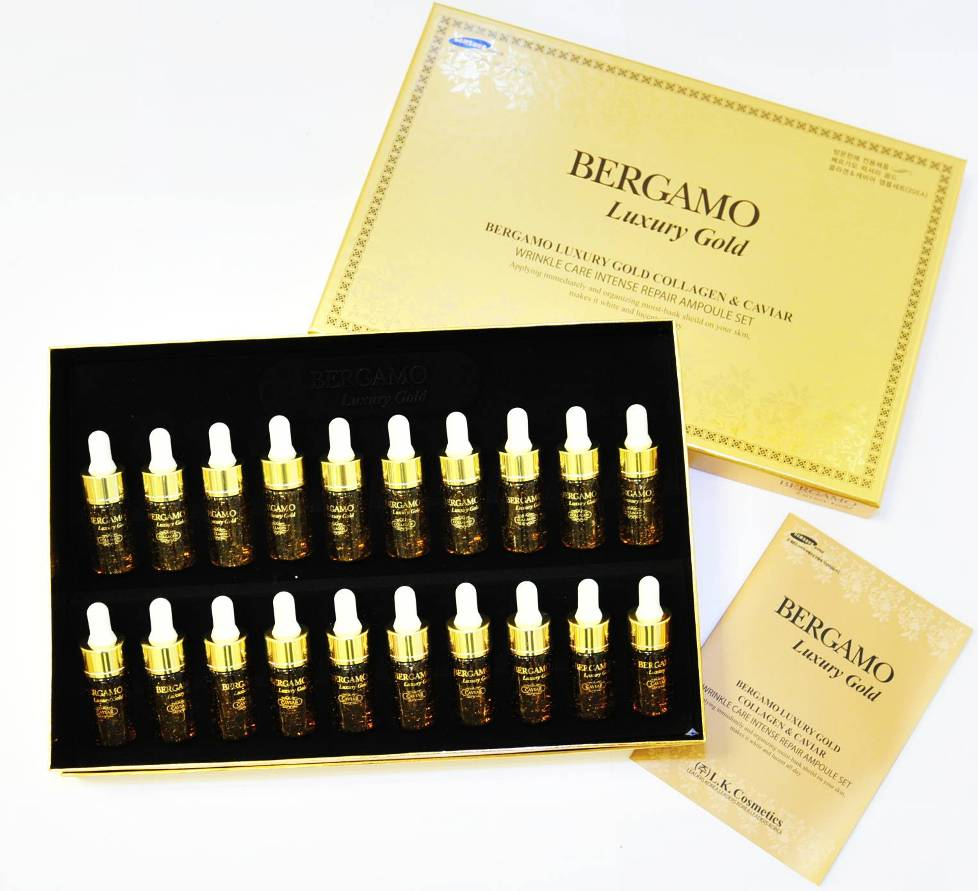 Bergamo Luxury Gold Collagen&ampampampampampampampampampCaviar Wrinkle Care Intense Repair set 20 ชิ้น